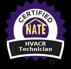 Certified NATE HVACR Technician badge